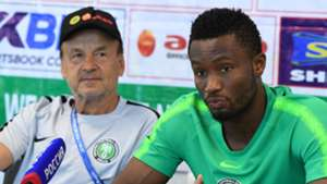 Gernot Rohr and John Obi Mikel of Nigeria