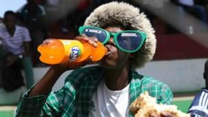 A Gor Mahia fan at Afraha Stadium in Nakuru.