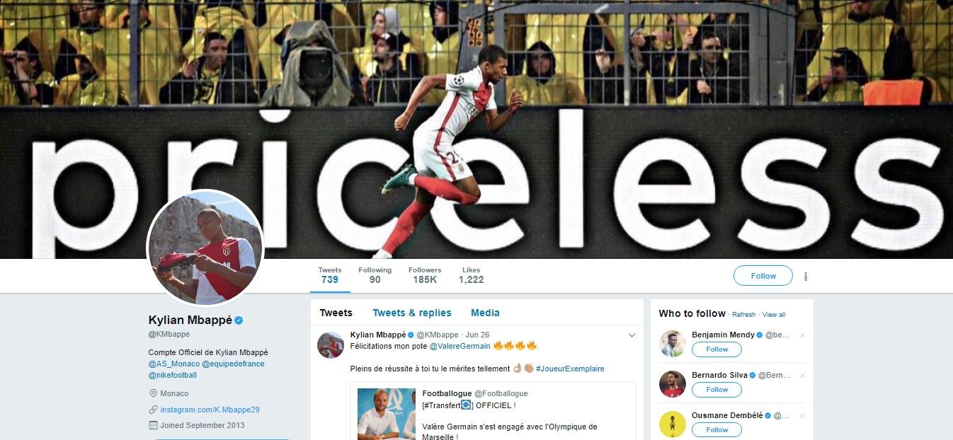 Kylian Mbappe Twitter Header 29062017