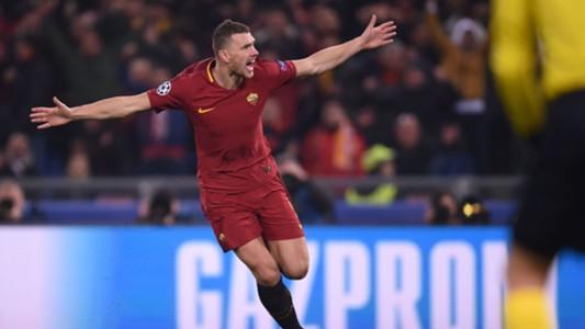 Edin Dzeko celebrates goal Roma Shakhtar Donetsk