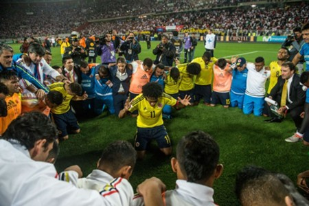 Colombia celebrando la clasificación a Rusia 2018