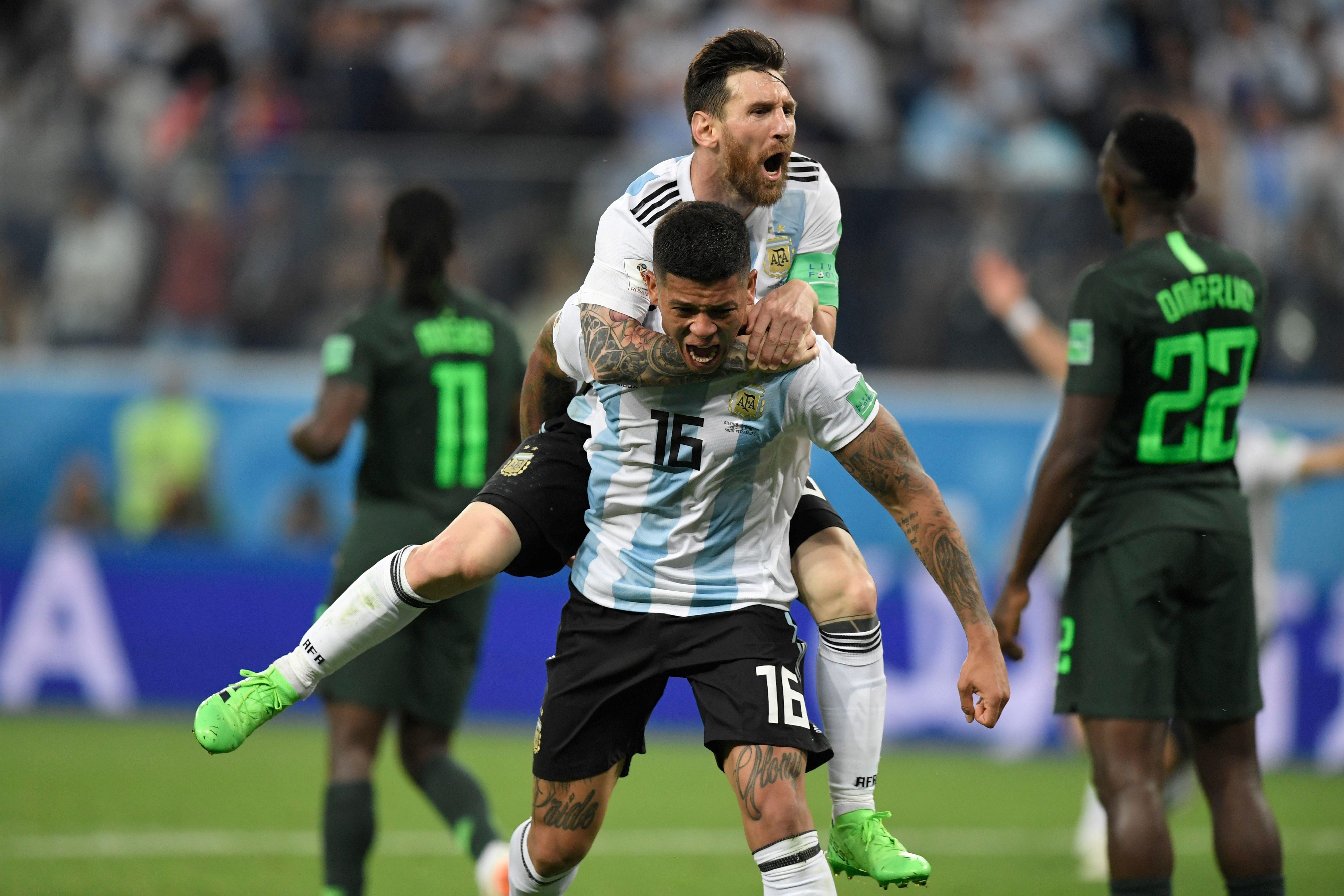 Lionel Messi Marcos Rojo Argentina Nigeria