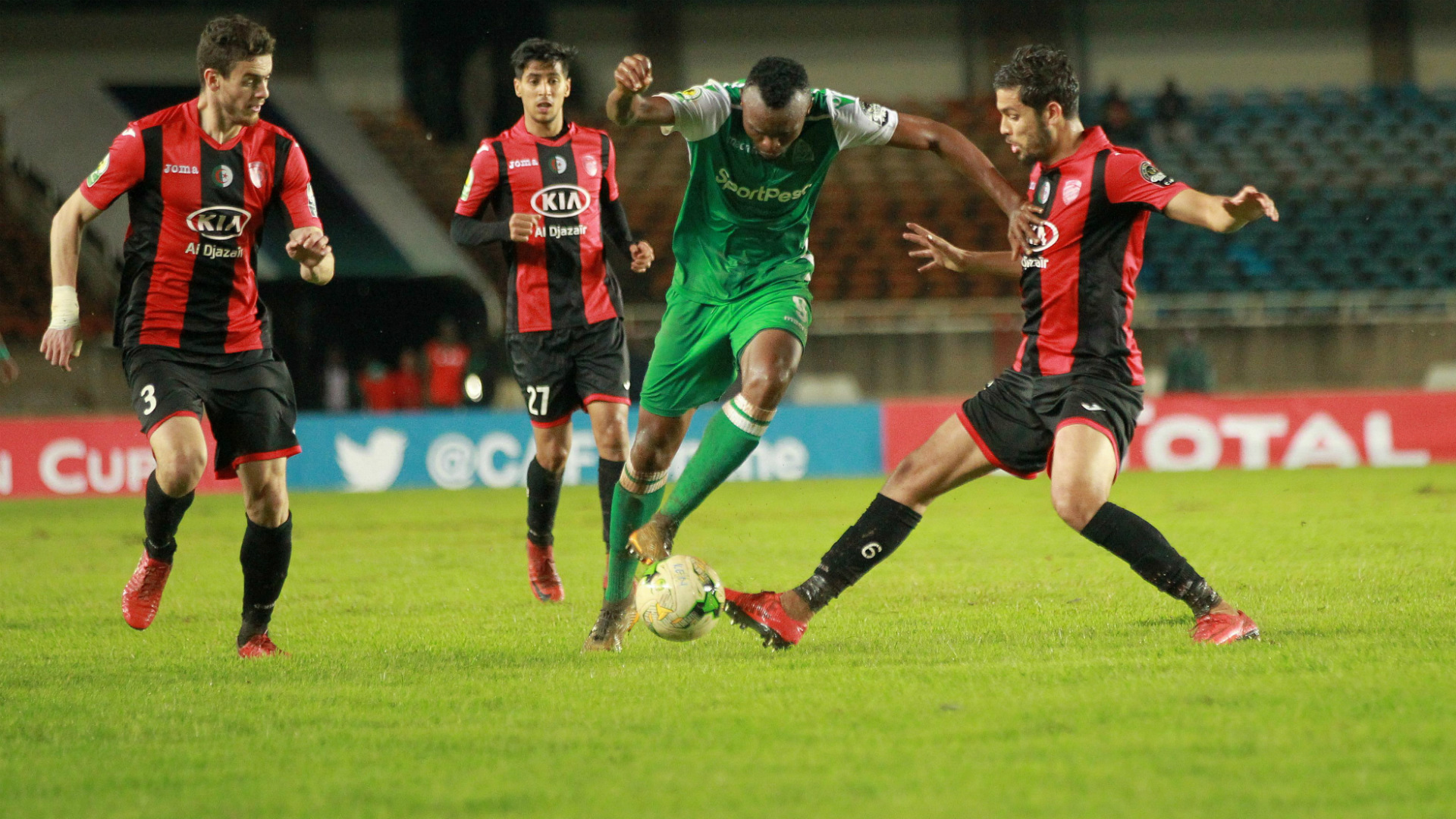 Gor Mahia striker Jacques Tuyisenge with ball against USM Alger.