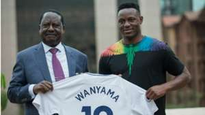 Raila Odinga and Victor Wanyama.