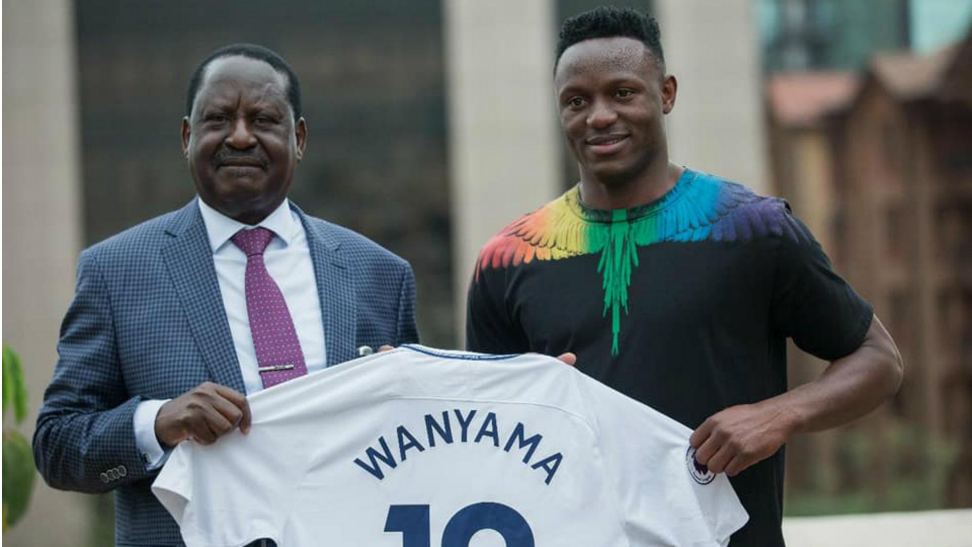 Raila Odinga and Victor Wanyama.