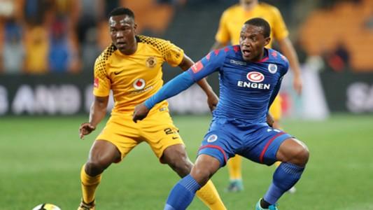 Philani Zulu of Kaizer Chiefs vs Thuso Phala of SupeSport United.