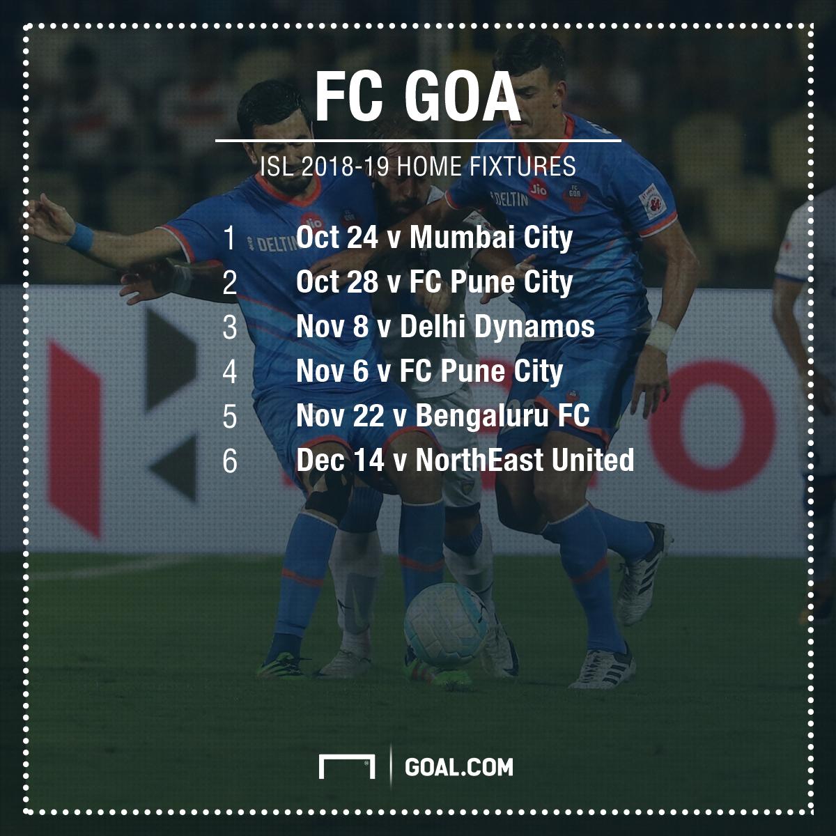 ISl 2018-19 FC Goa fixtures home