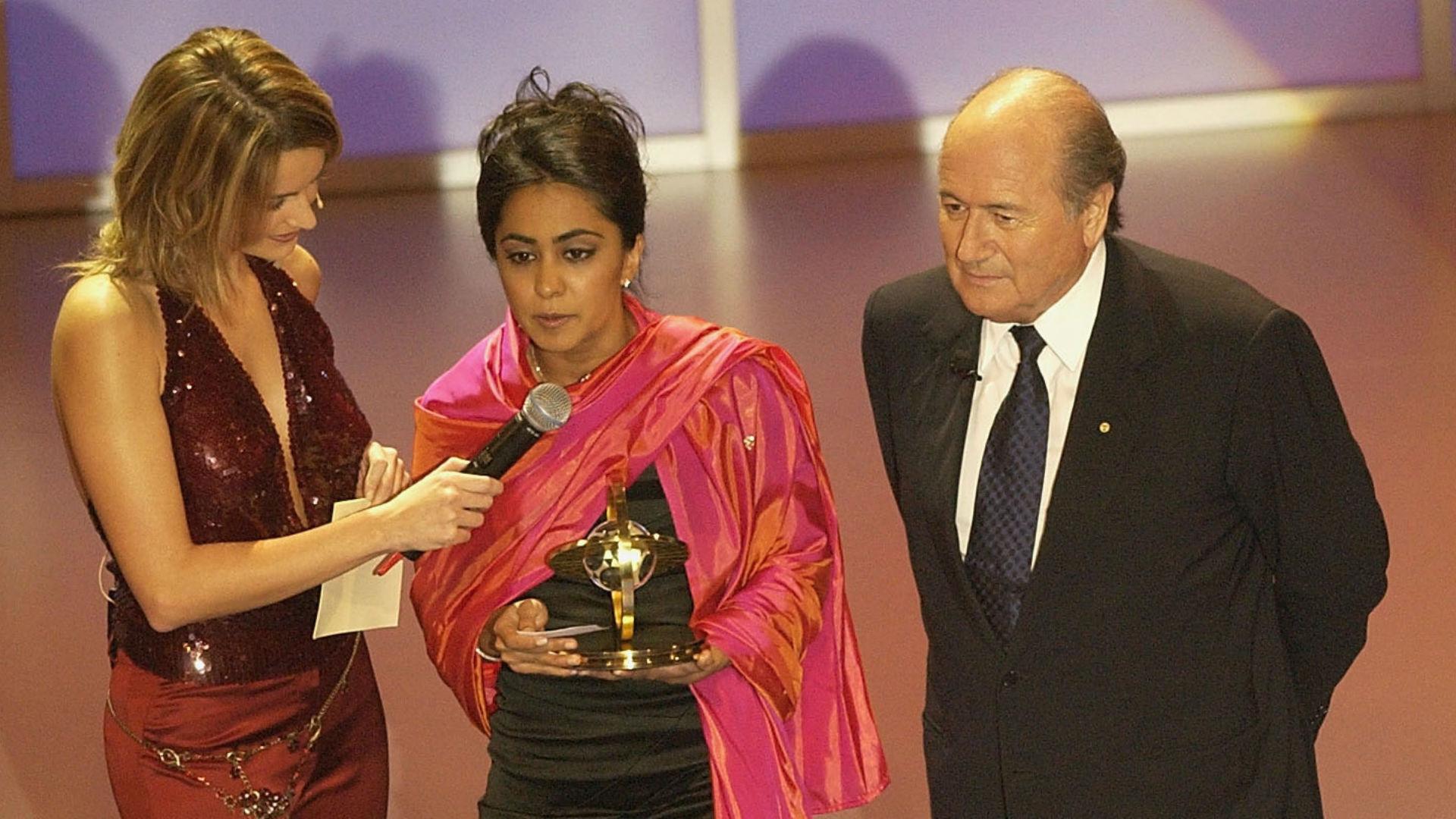 Parminder Nagra Sepp Blatter FIFA Presidential Award 2002