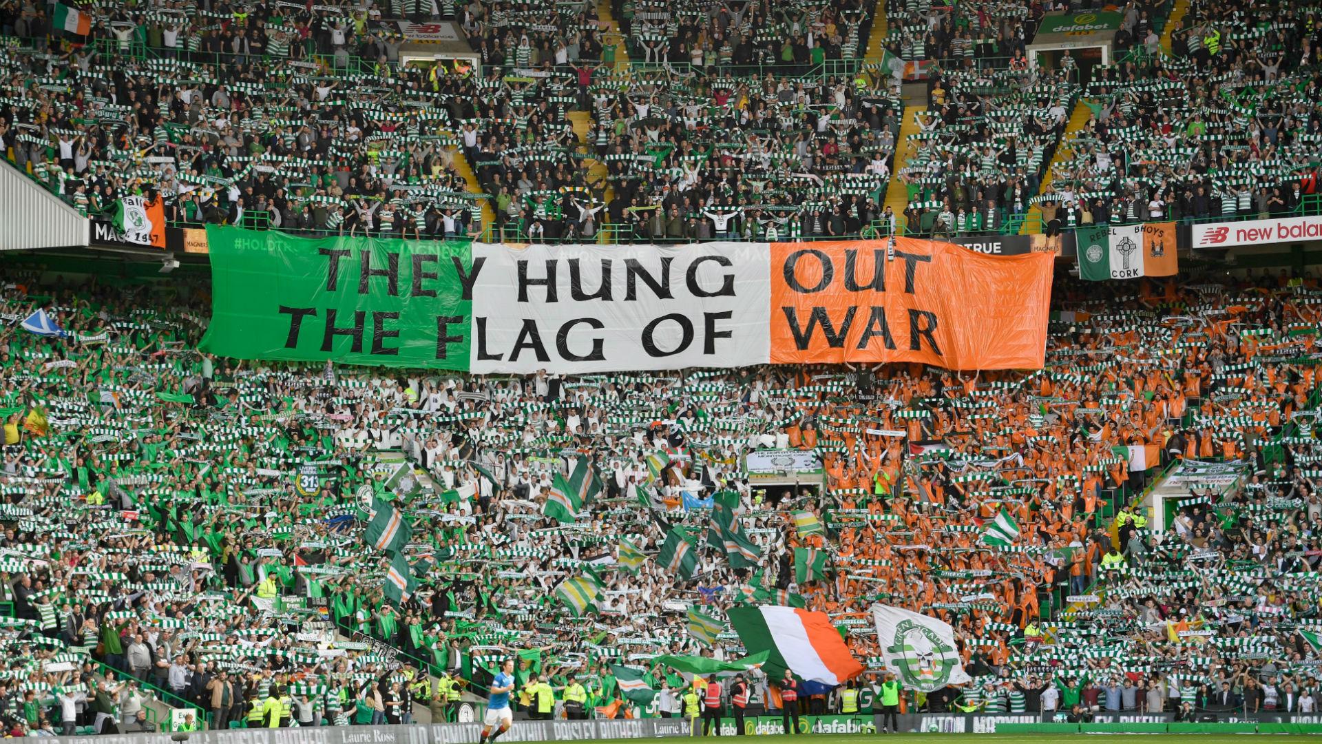 Celtic fans Ireland flag
