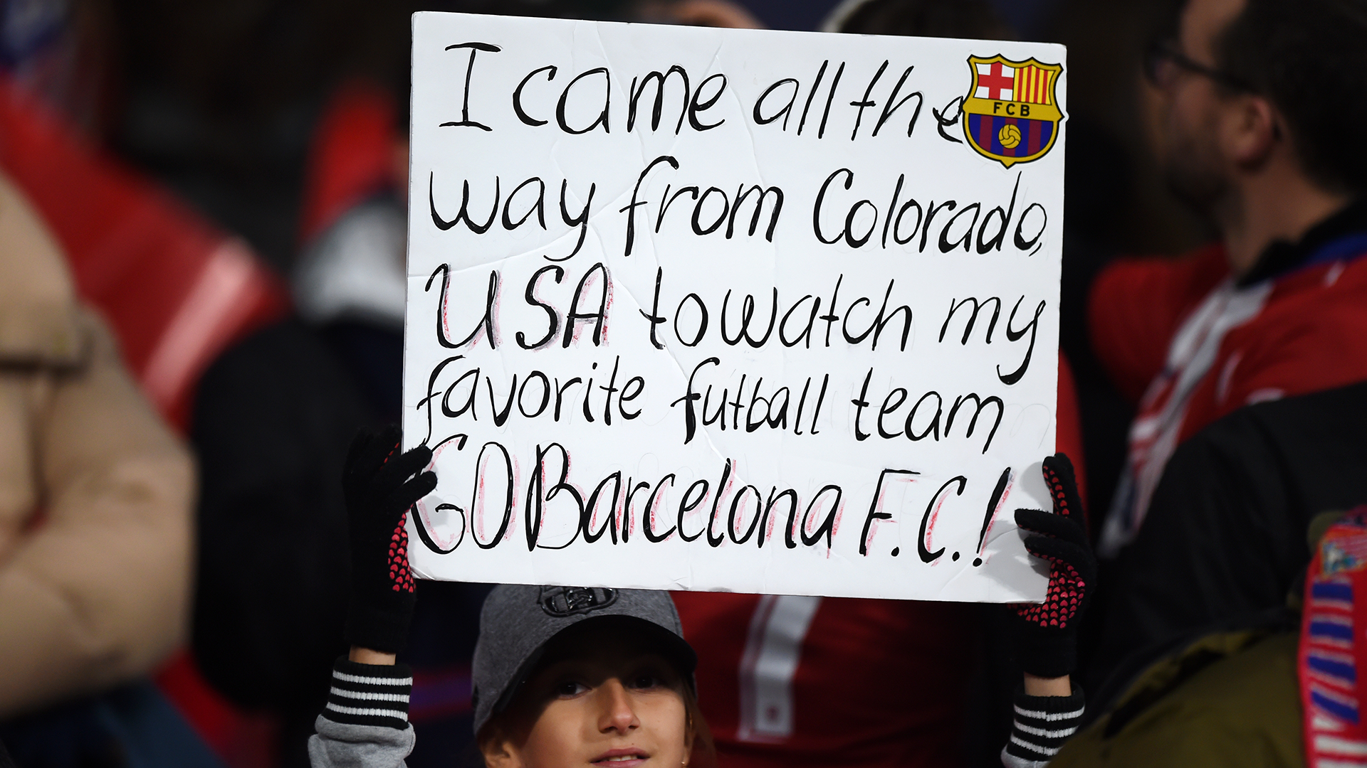 Barcelona fan sign