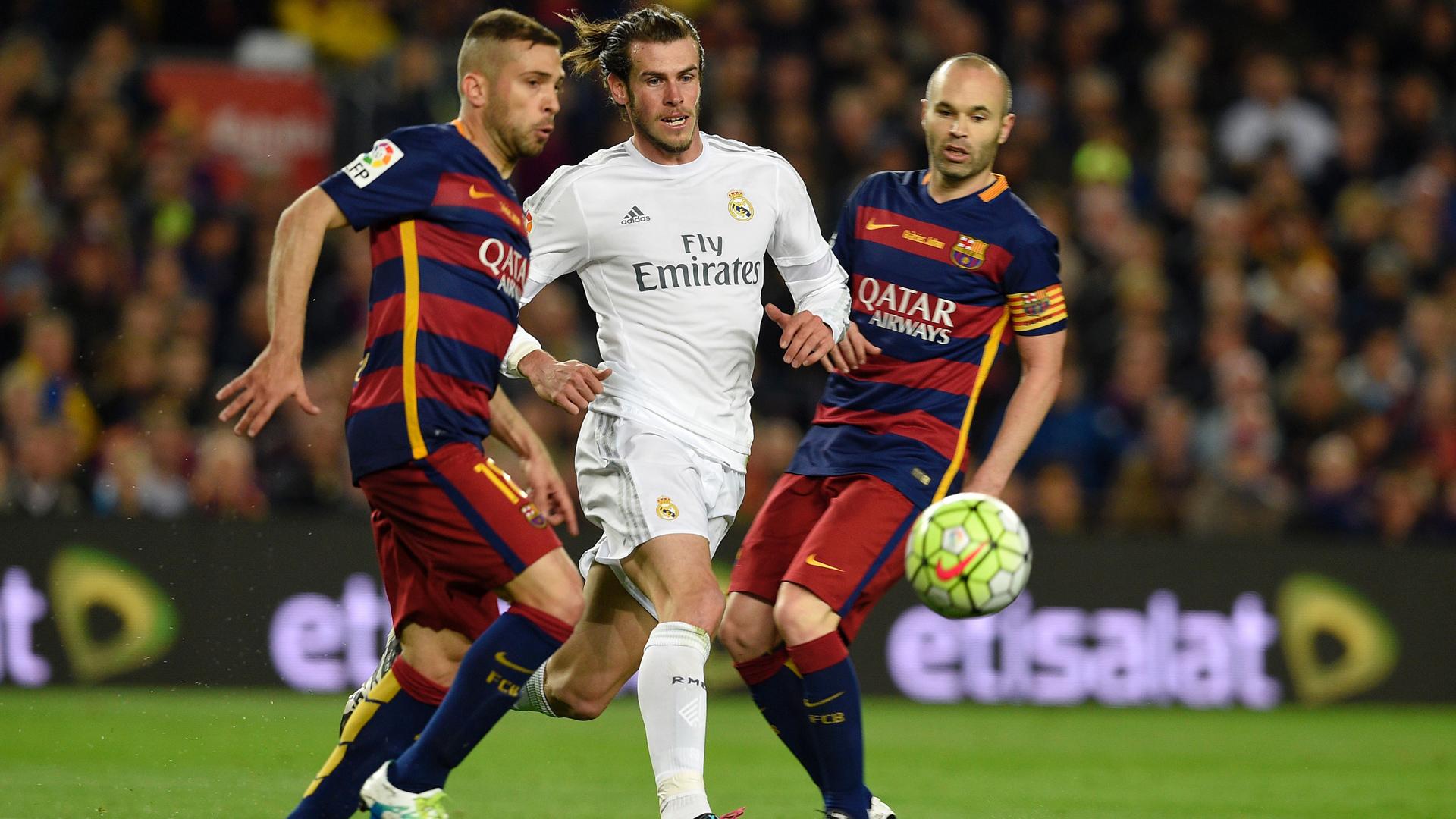 FC Barcelona Real Madrid Jordi Alba Andres Iniesta Gareth Bale 02042016