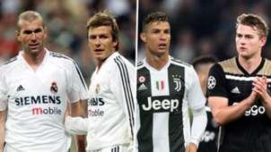 Zidane Beckham Ronaldo De Ligt Galacticos Real Madrid Juventus
