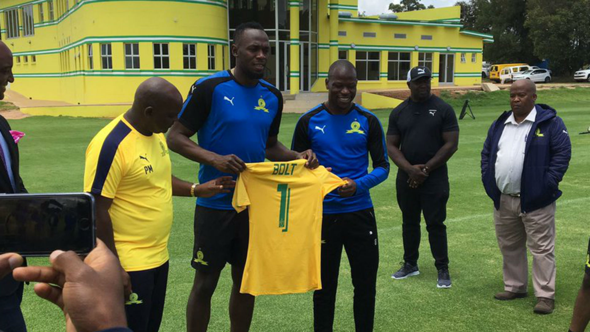 Mosimane runs Bolt ragged at Sundowns' training session