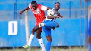 Brian Birgen of Ulinzi Stars and Aziz Okaka of AFC Leopards.j