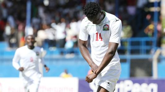 Harambee Stars striker Michael Olunga celebrates.