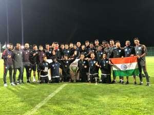 India U16 after winning in Serbia