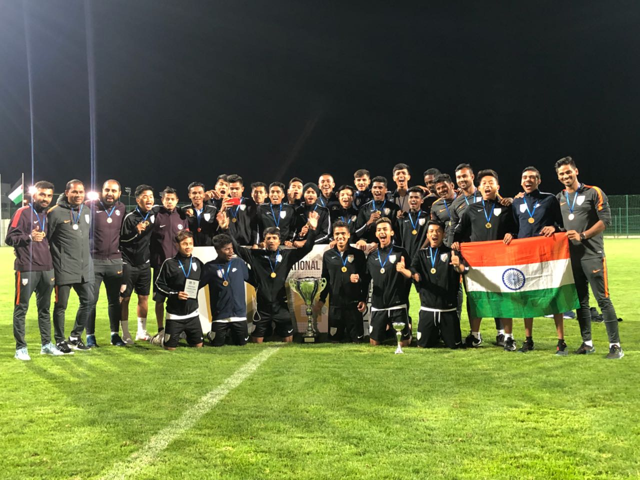 India U16 after winning in Serbia