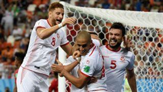 Tunisia celebrate goal World Cup 2018