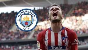 Saul Niguez, Atletico Madrid, Man City logo