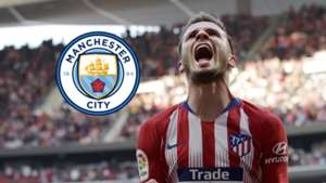 Saul Niguez, Atletico Madrid, Man City logo