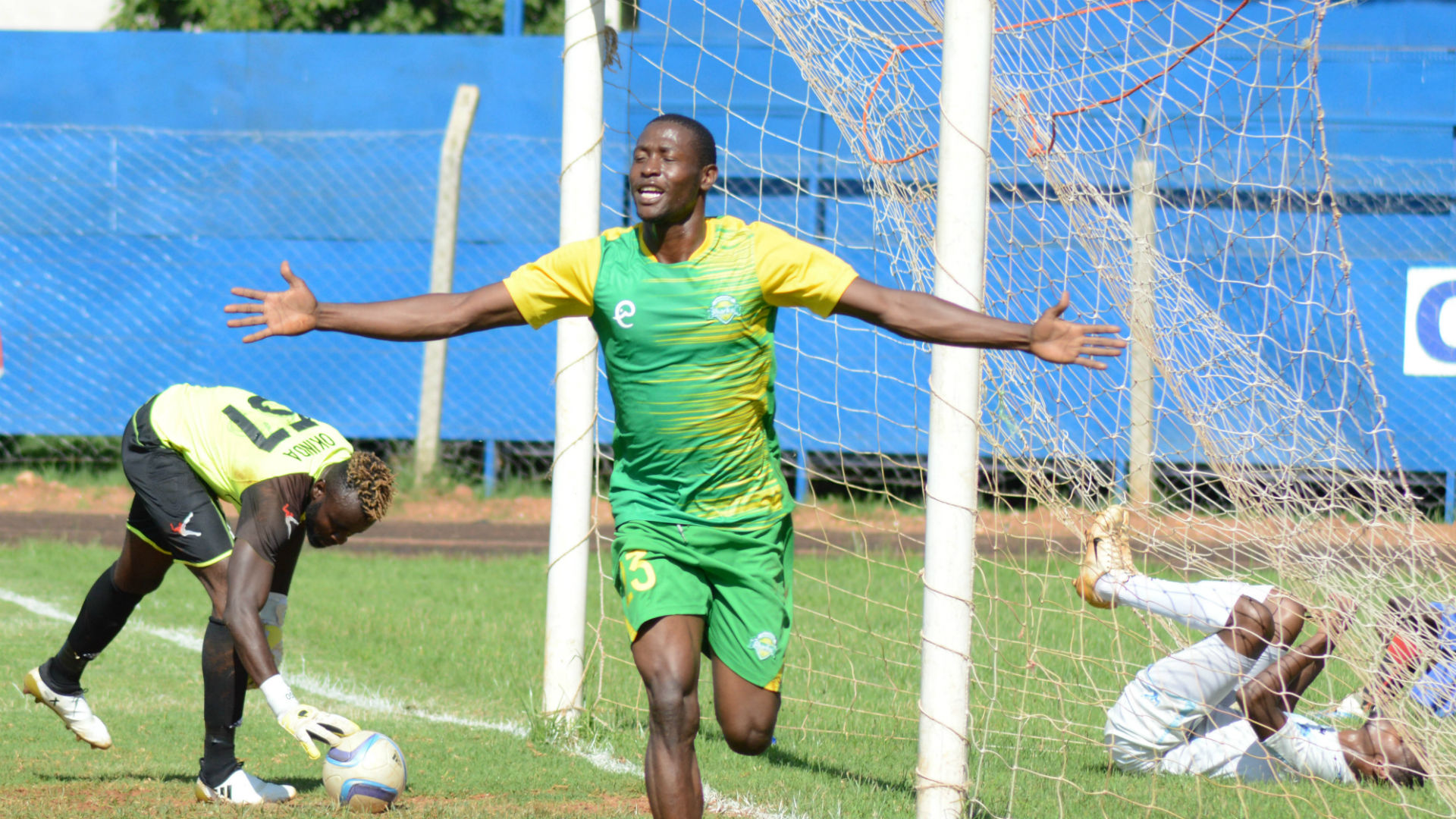 Masoud Juma of Kariobangi Sharks celebrates goal against Nakumatt