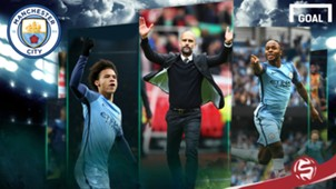 Pep guardiola Leroy Sane Raheem Sterling Manchester City graphic