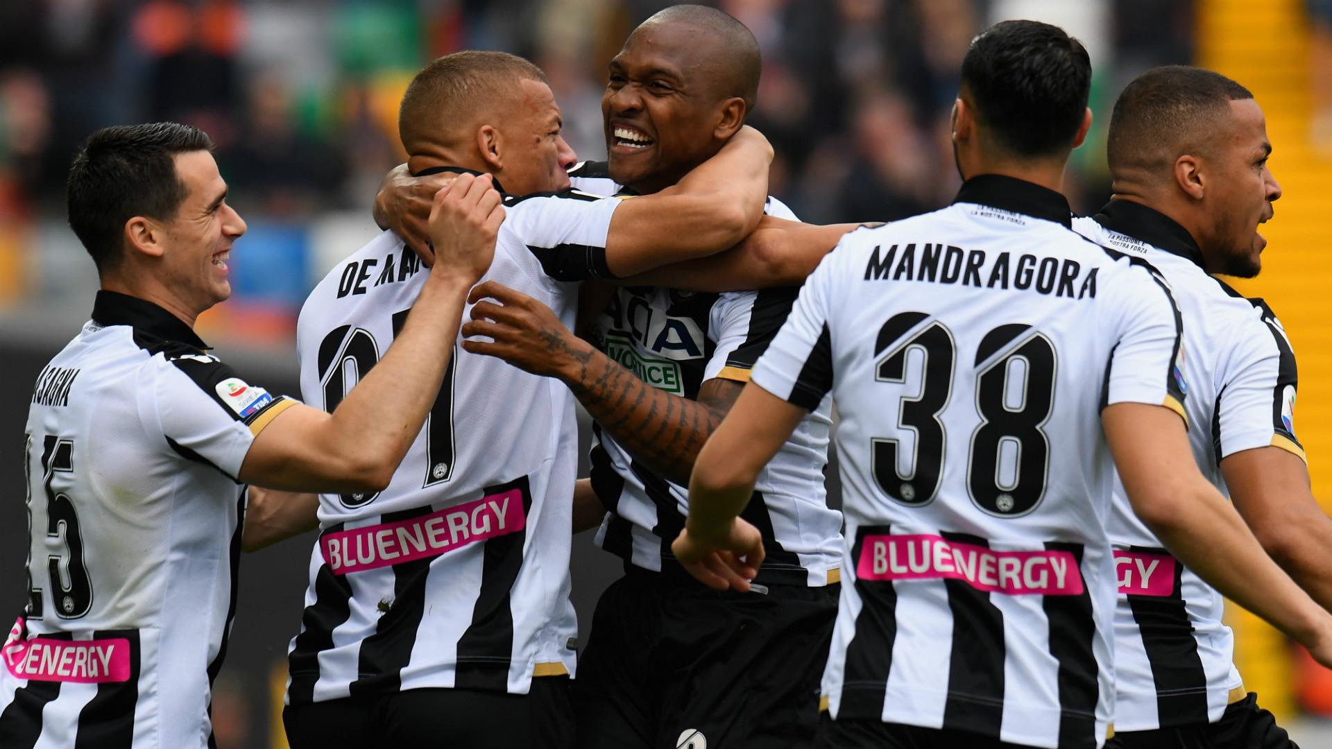 Udinese celebrating goal against SPAL