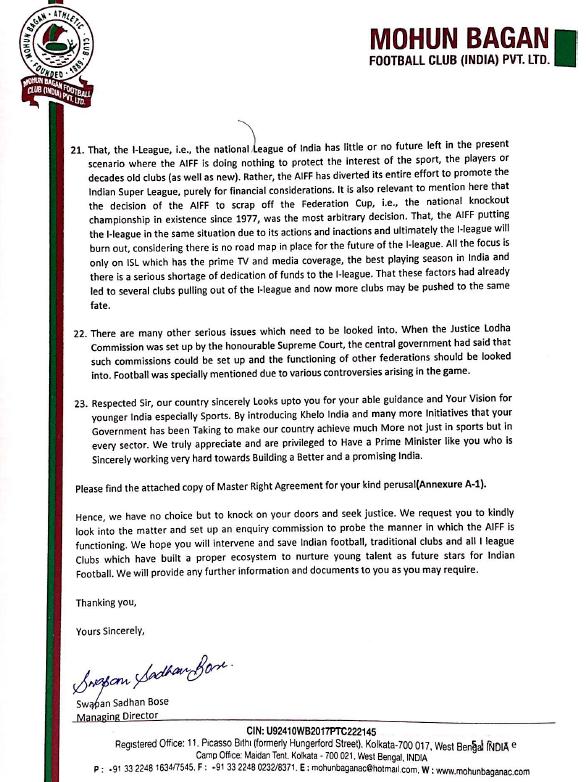 Page 5 - Mohun Bagan letter to PM Modi