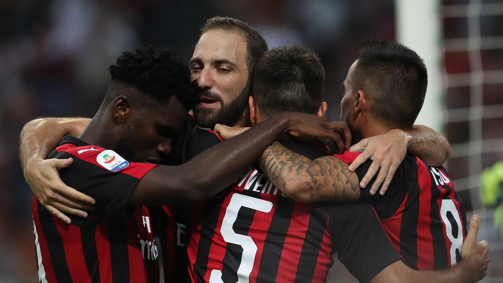 Milan celebrating Atalanta Serie A