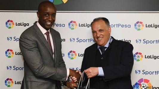 SportPesa CEO Ronald Karauri with La Liga's President Javier Tebas
