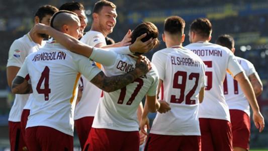 Roma celebrating Verona Roma Serie A