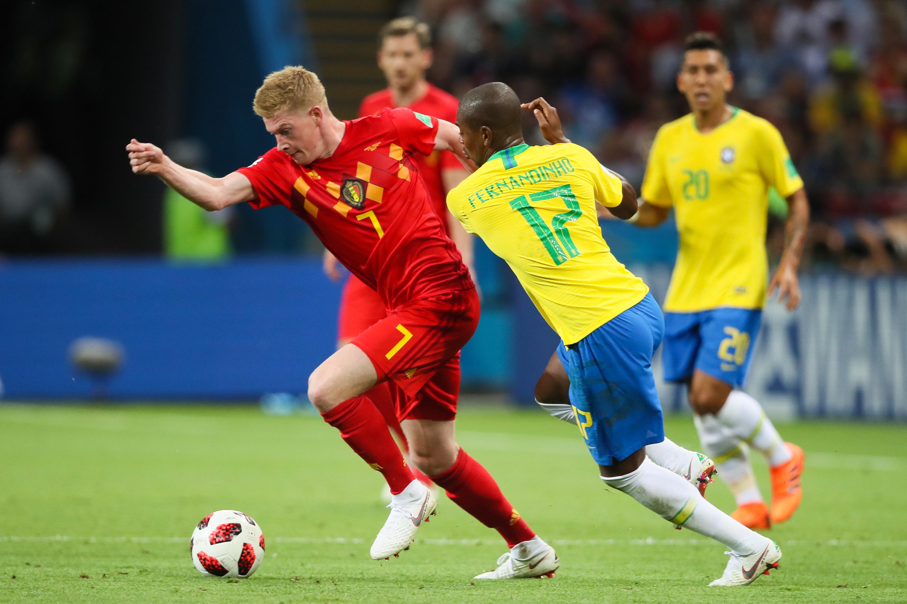 Kevin De Bruyne Fernandinho Brazil Belgium World Cup 07/06/18