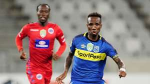 Teko Modise of Cape Town City ahead of Reneilwe Letsholonyane of Supersport United during the 2019 Nedbank Cup game