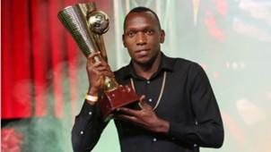 Gor Mahia midfielder Meddie Kagere with MVP trophy.