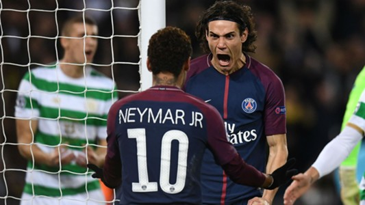 Edinson Cavani Neymar PSG Celtic UEFA Champions League 22112017