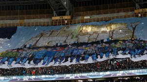 Napoli fans at San Paolo Stadium Napoli Real Madrid UEFA Champions League 03072017