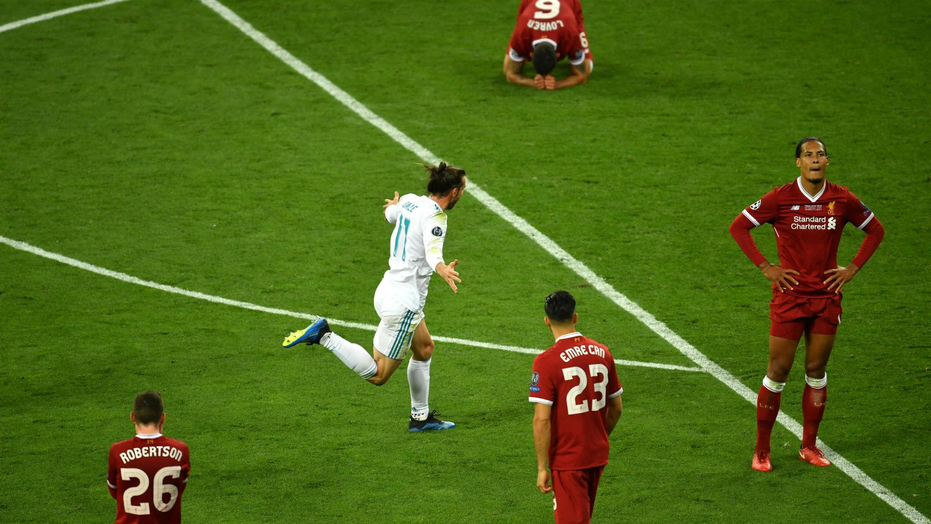 Gareth Bale celebrates in Kiev