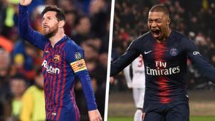 Lionel Messi Kylian Mbappe Champions League 2018-19
