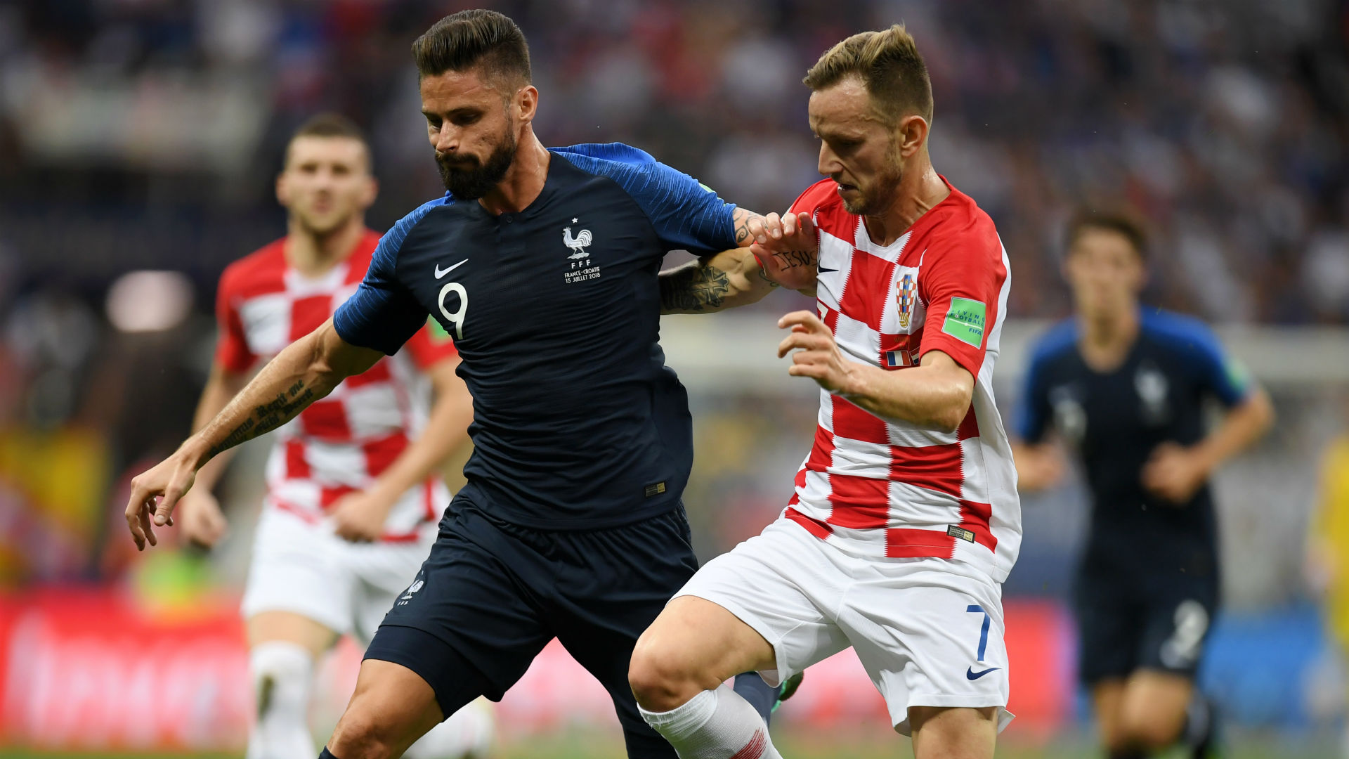 Olivier Giroud Ivan Rakitic France Croatia World Cup Final 15072018