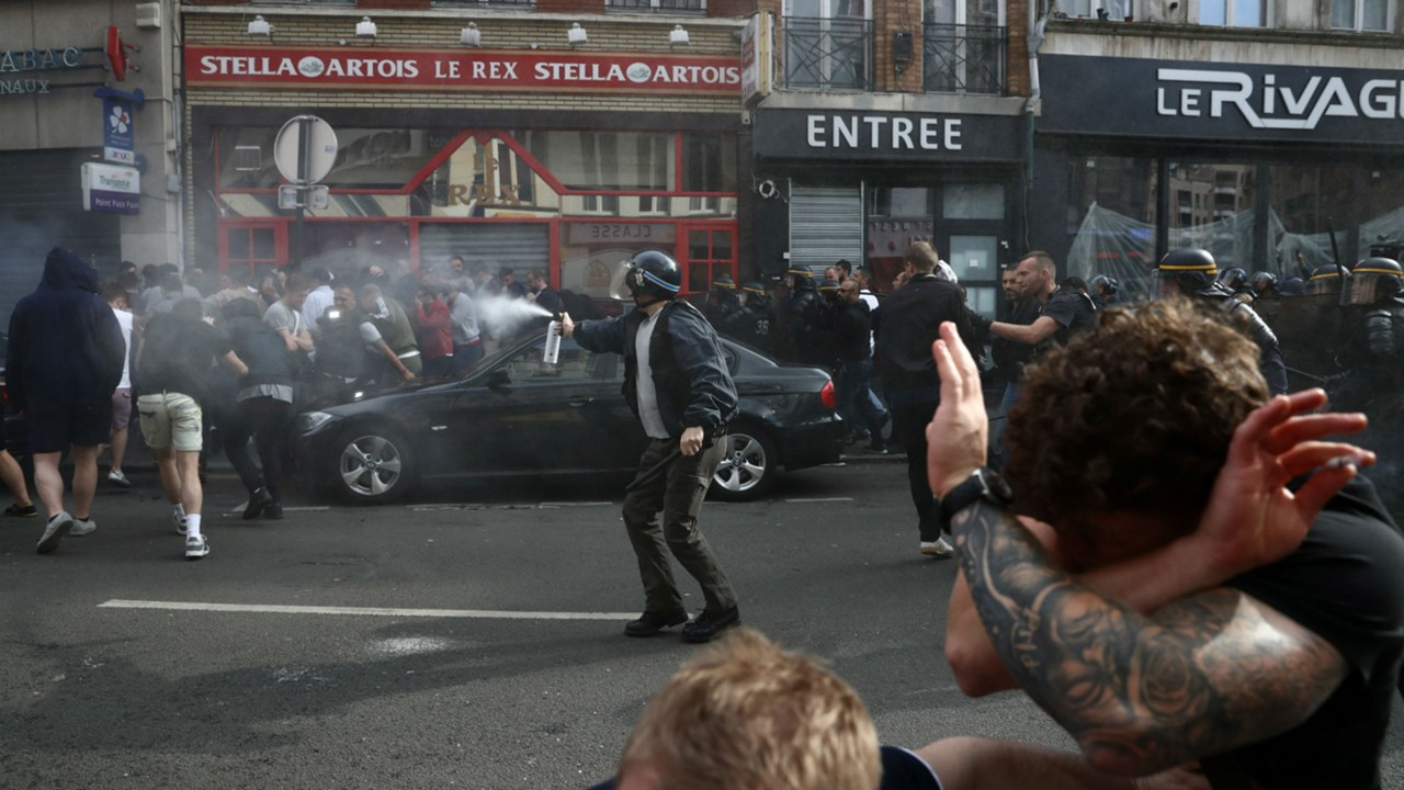 England fans in Lille with police