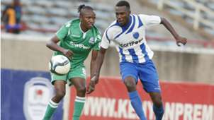 Francis Kahata of Gor Mahia and Soter Kayumba of AFC Leopards.