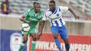 Francis Kahata of Gor Mahia and Soter Kayumba of AFC Leopards.
