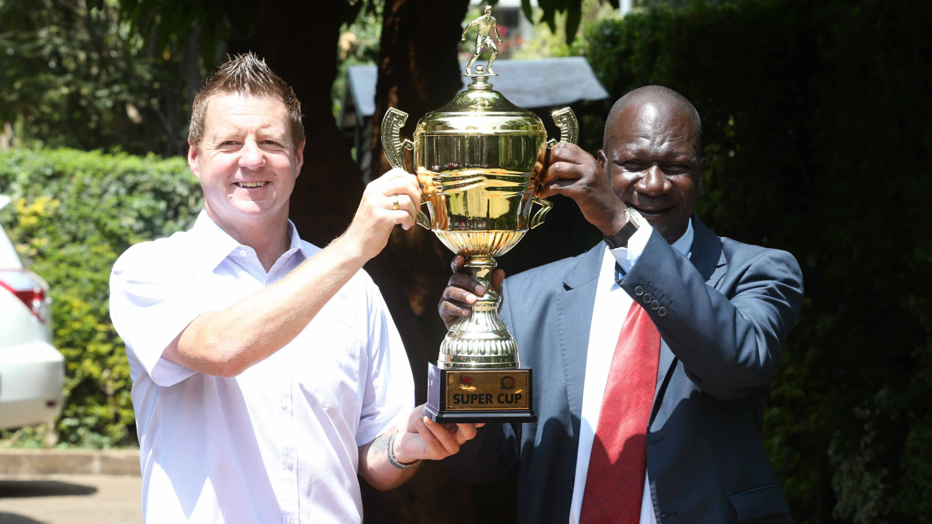 Gor Mahia coach Dylan Kerr and Robert Matano of AFC Leopards.