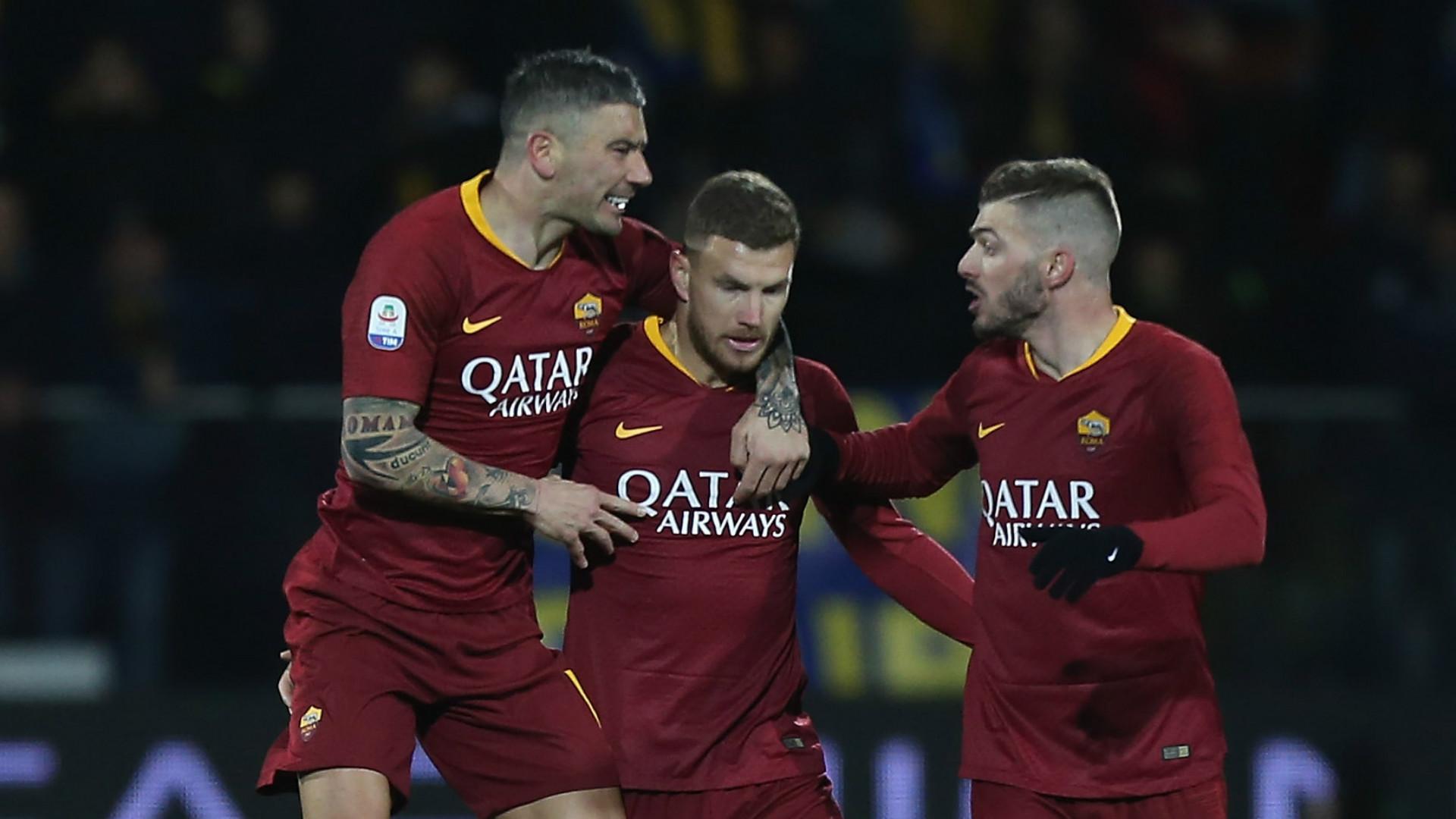 Edin Dzeko Roma celebrating