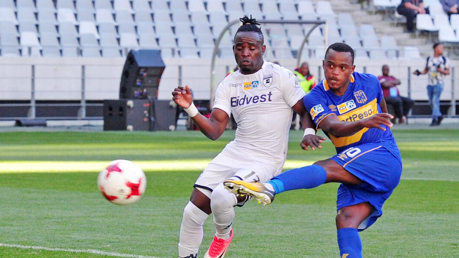 Ayanda Patosi of Cape Town City scores against Bidvest Wits