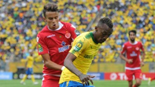 Krahire Zakri of Mamelodi Sundowns challenged by Badr Gaddarine of Wydad Athletic