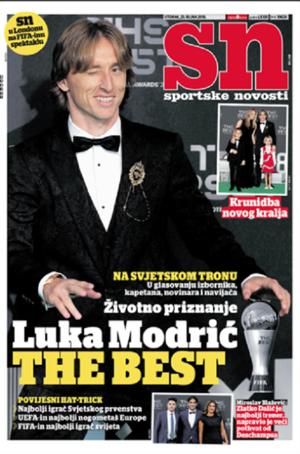 크로아티아 스포츠 일간지 '스포르트스케 노보스티'의 25일자1면. 사진=스페인 매체 '마르카' 캡처
