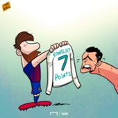 Cartoon: Messi 7 points shirt