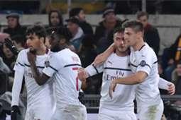 Milan celebrates Piatek vs. Roma
