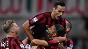 Milan celebrating Milan SPAL Serie A